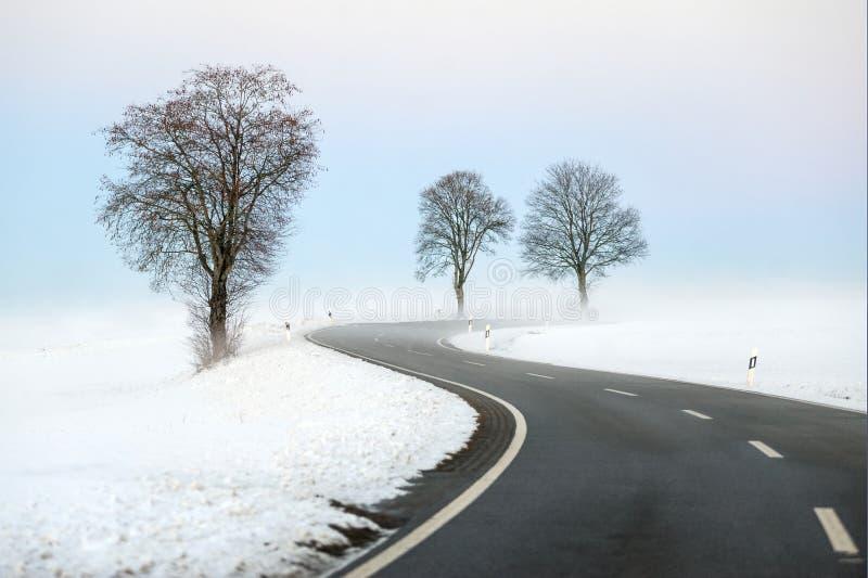 Slingrig vinterväg arkivbilder