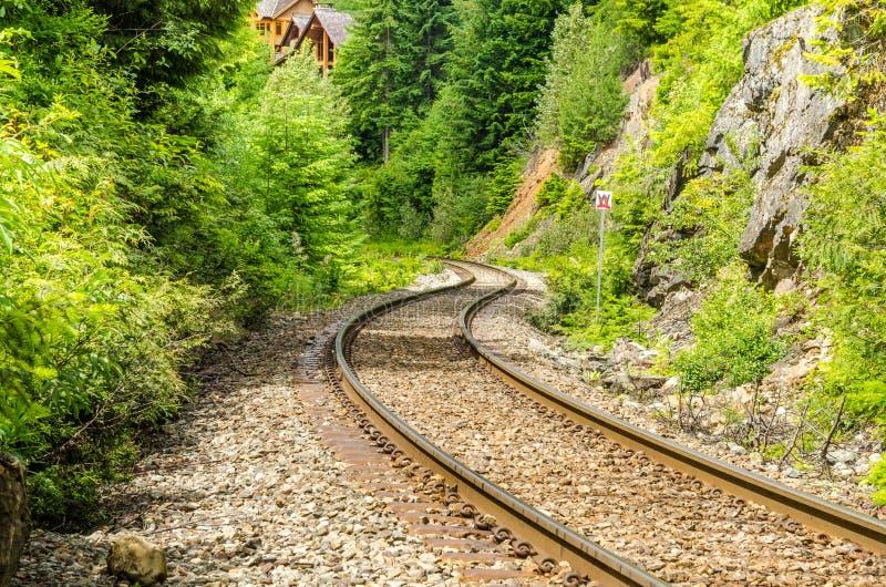 Slingrigt järnvägspår royaltyfri bild
