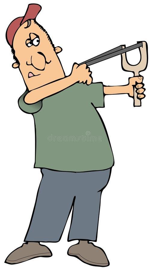 slingshot стрельбы человека иллюстрация штока