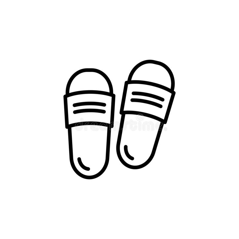 Free Slipper Linear Vector Icon. Flip Flops Line Thin Sign. Beach Sneakers Outline Symbol. Home Shoes Simple Logo Black On White. Sanda Stock Photos - 192673903