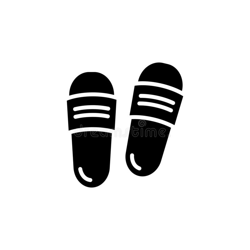 Free Slipper Vector Icon. Flip Flops Sign. Beach Sneakers Symbol. Home Shoes Simple Logo Black On White. Sandals Traveling Icon. Beach Stock Photo - 192864550