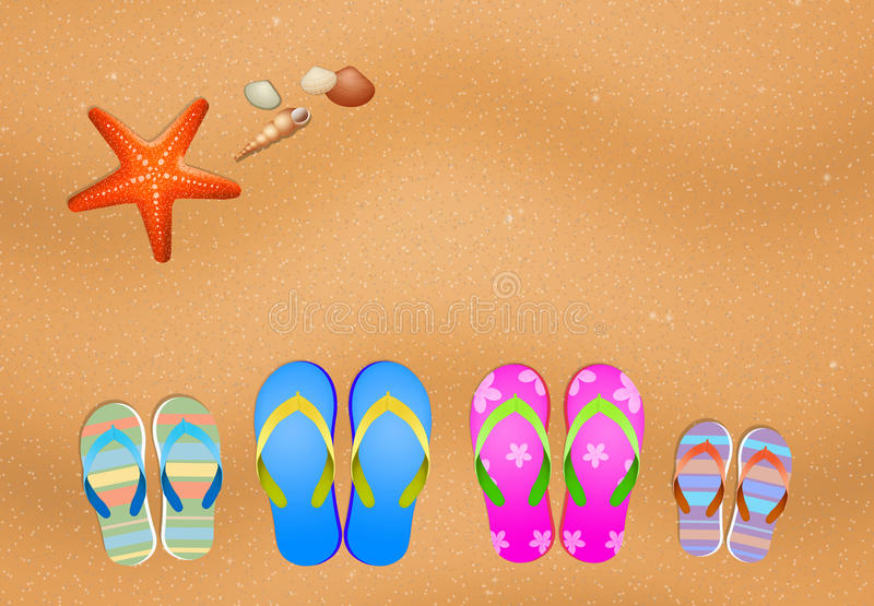 Slippers for family on the beach royalty free illustration