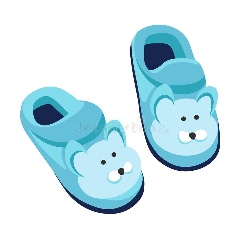 Slippers home footwear isolated pear for kids flip flops stock illustration