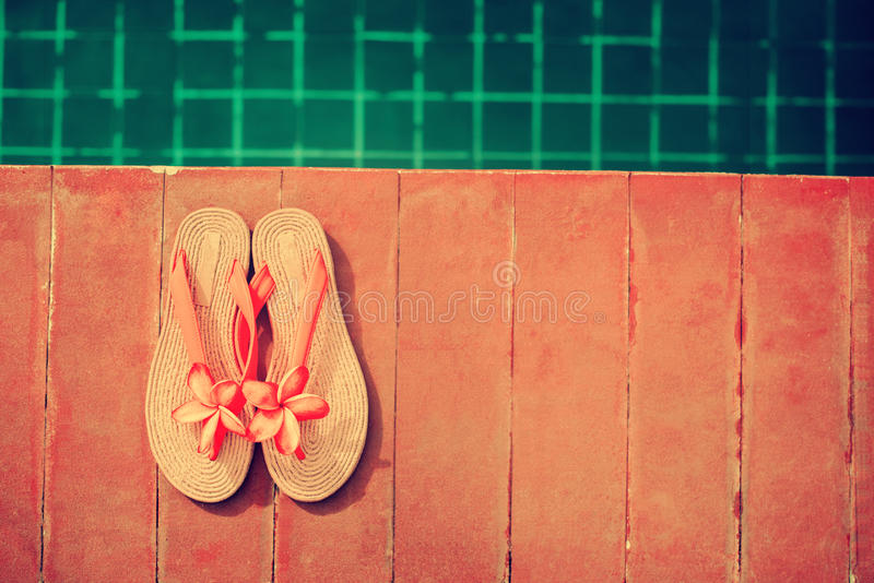 Slippers Pink Frangipani Swimming Pool Summer royalty free stock image