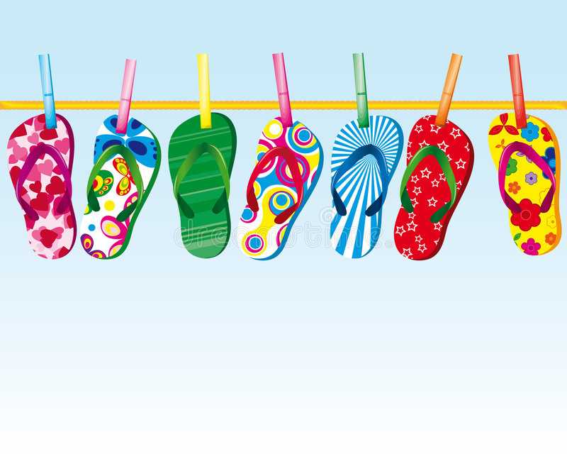 Download Slippers on a rope stock vector. Illustration of decorative - 8810713