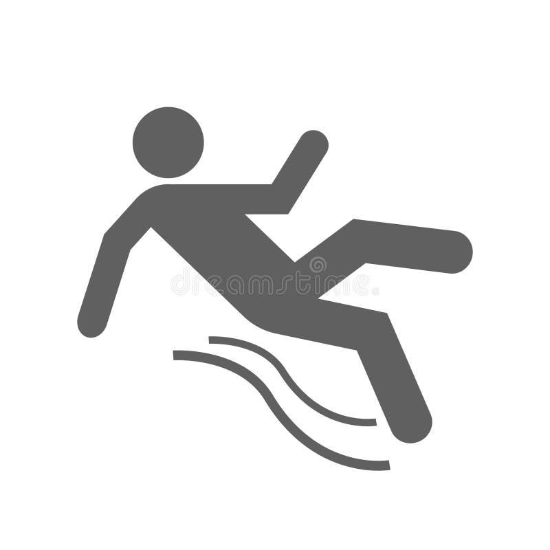 Slippery floor symbol. Following down royalty free illustration