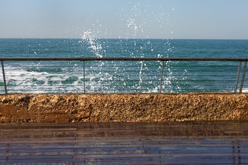 Slippery promenade at the sea. stock photos