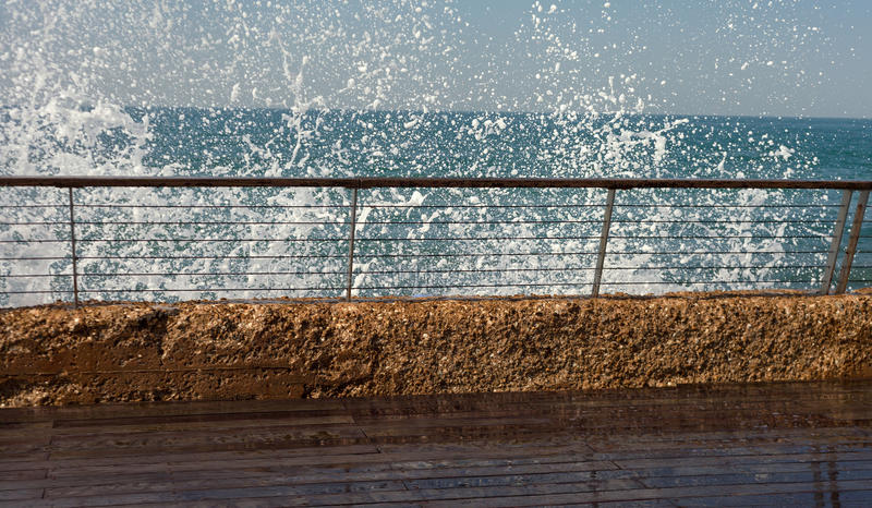 Slippery promenade at the sea. royalty free stock images