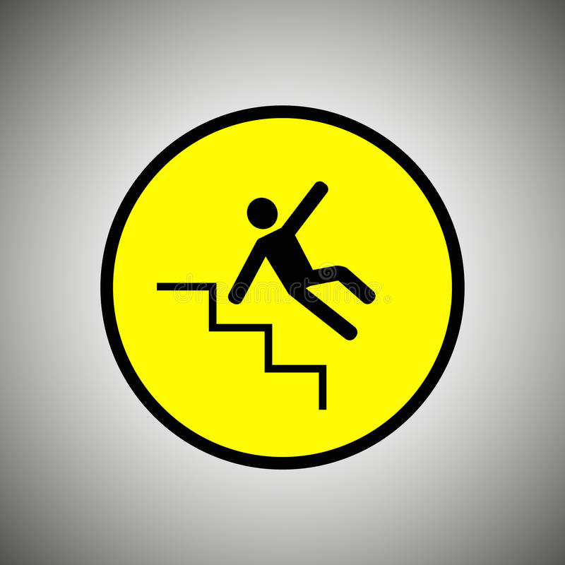Download Slippery Stairs Sign. Falling Man On Stairs Vector Stock Vector    Illustration Of Illustration