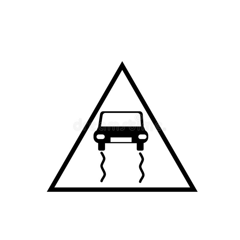 Slippy vector van het verkeerstekenpictogram op witte achtergrond, Slippy verkeerstekenteken wordt geïsoleerd dat royalty-vrije illustratie