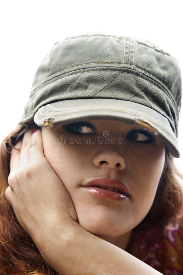 slitage kvinna för hatt royaltyfri foto