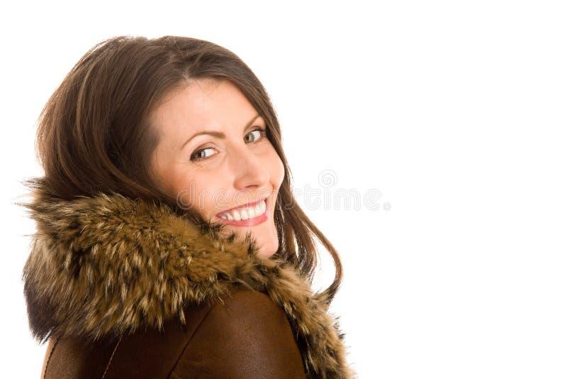 slitage kvinna för sheepskin arkivfoto