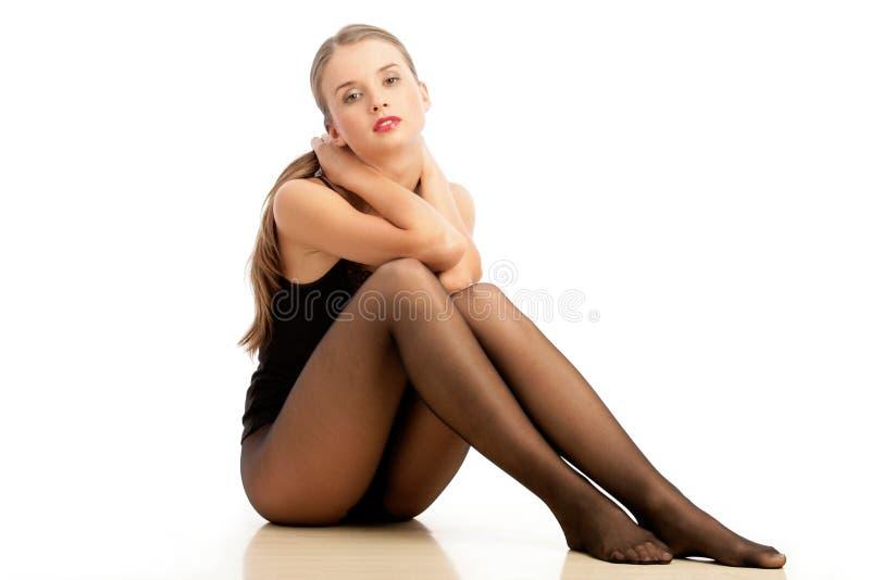 slitage kvinna för strumpbyxor arkivbild