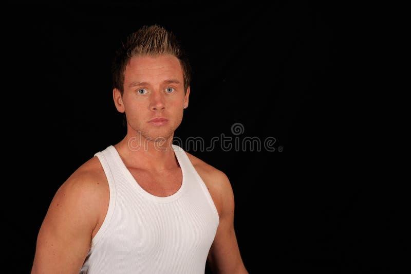 slitage white för manundershirt arkivfoton