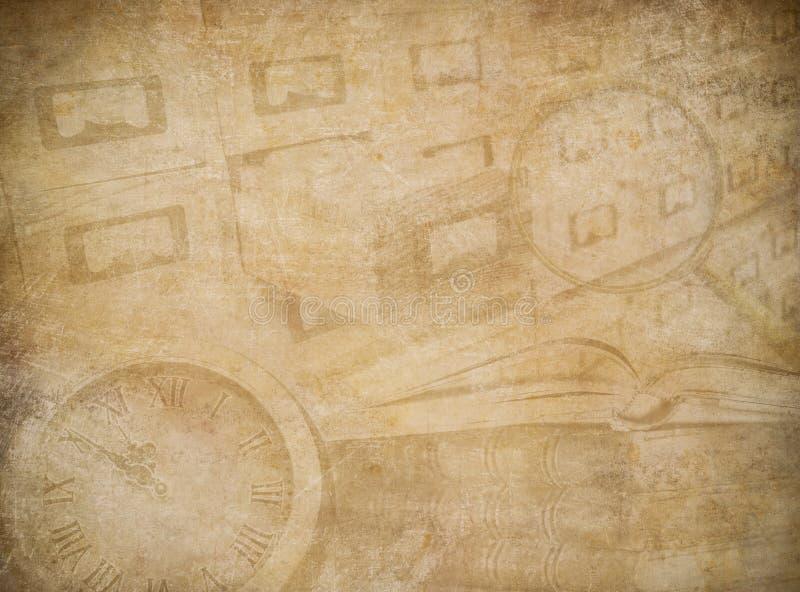 Sliten pappers- bakgrund för arkiv eller för museum vektor illustrationer