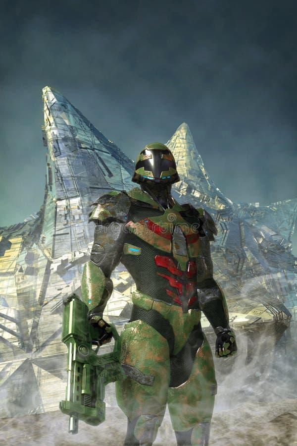 Sliten soldat för futuristisk strid royaltyfri illustrationer