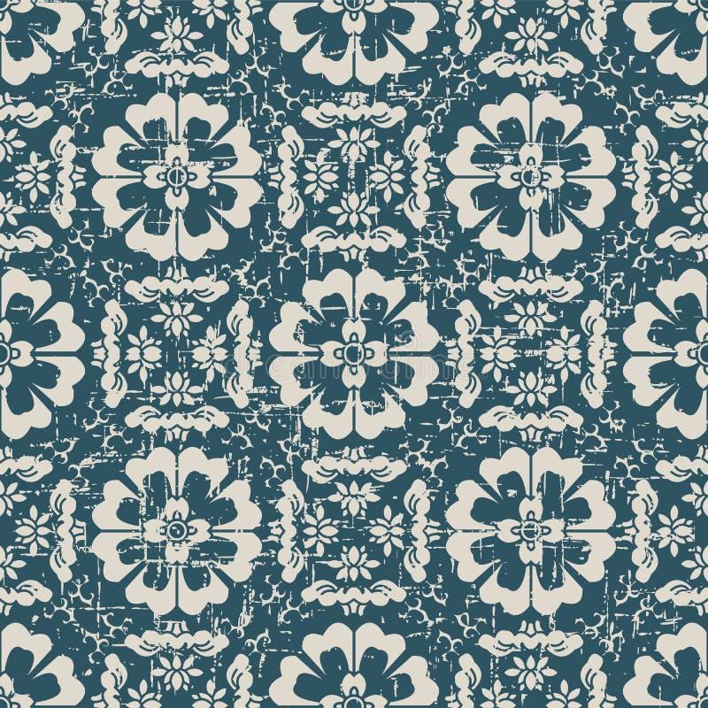 Sliten ut antik sömlös blomma K för runda för bakgrundskorsspiral royaltyfri illustrationer