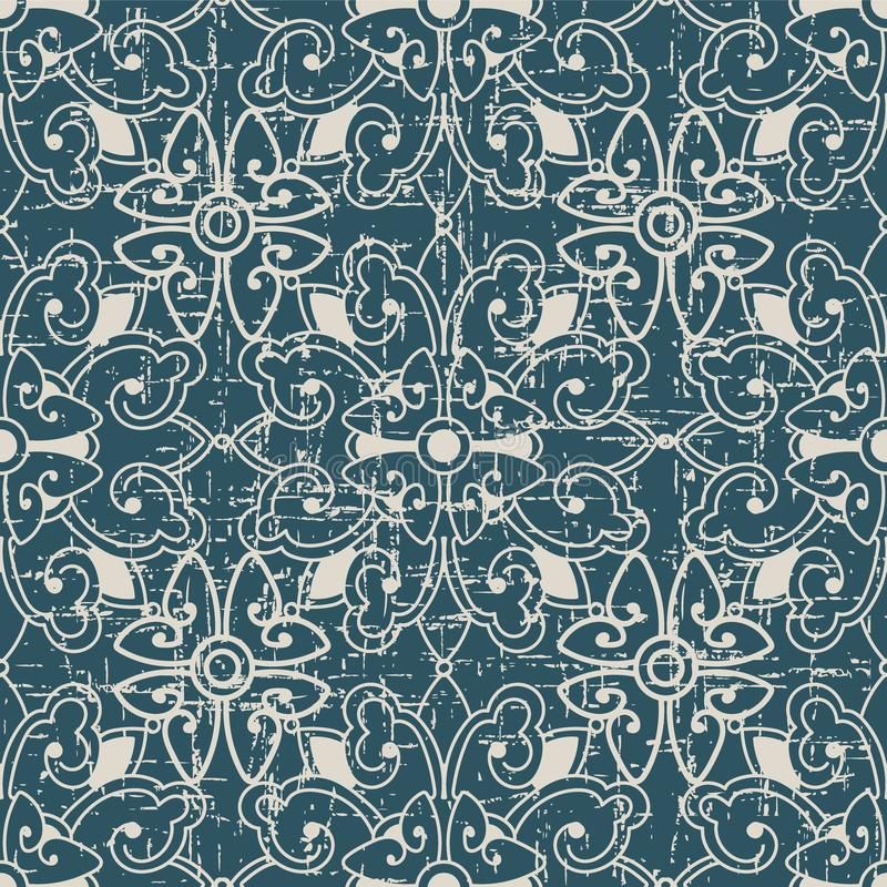 Sliten ut antik sömlös blomma K för runda för bakgrundsspiralkors royaltyfri illustrationer