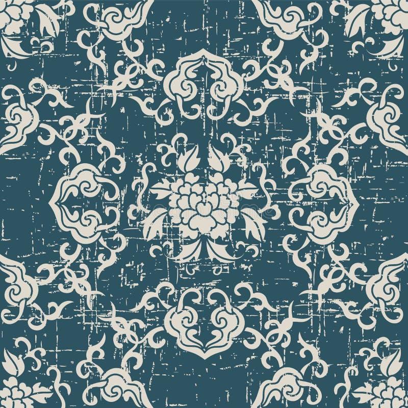 Sliten ut antik sömlös blomma l för kors för bakgrundsspiralkurva stock illustrationer