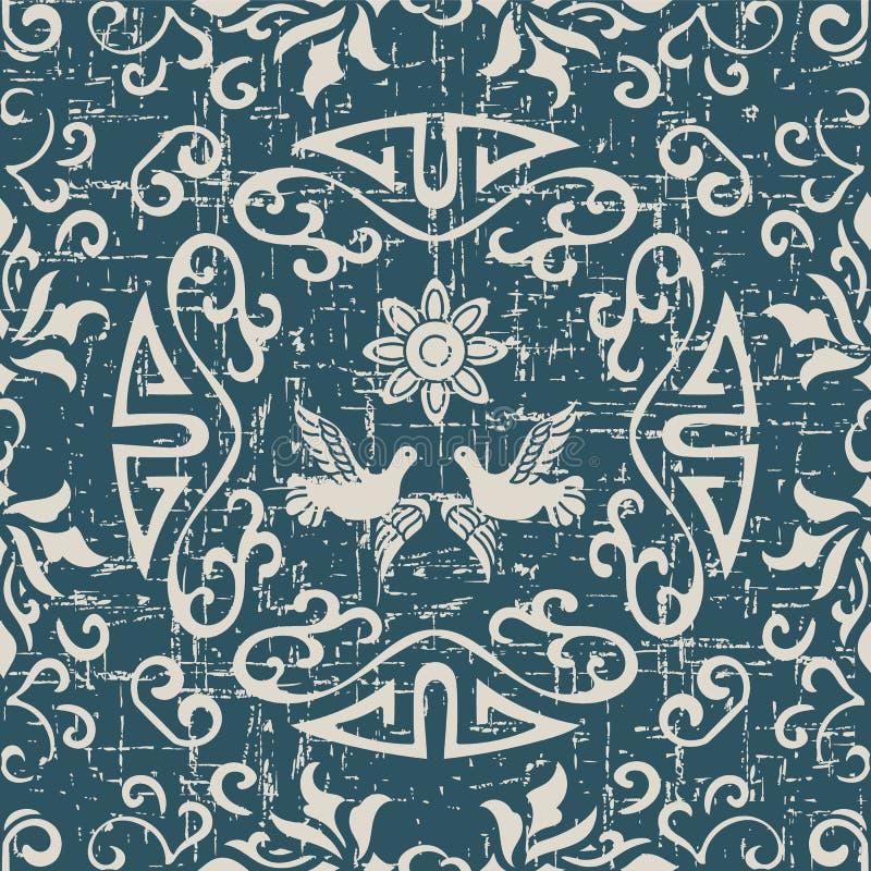 Sliten ut antik sömlös duva f för ram för bakgrundsspiralrunda royaltyfri illustrationer