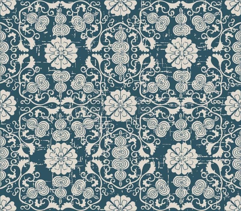 Sliten ut antik sömlös flo för vinranka för kalebass för bakgrundsspiralkors vektor illustrationer
