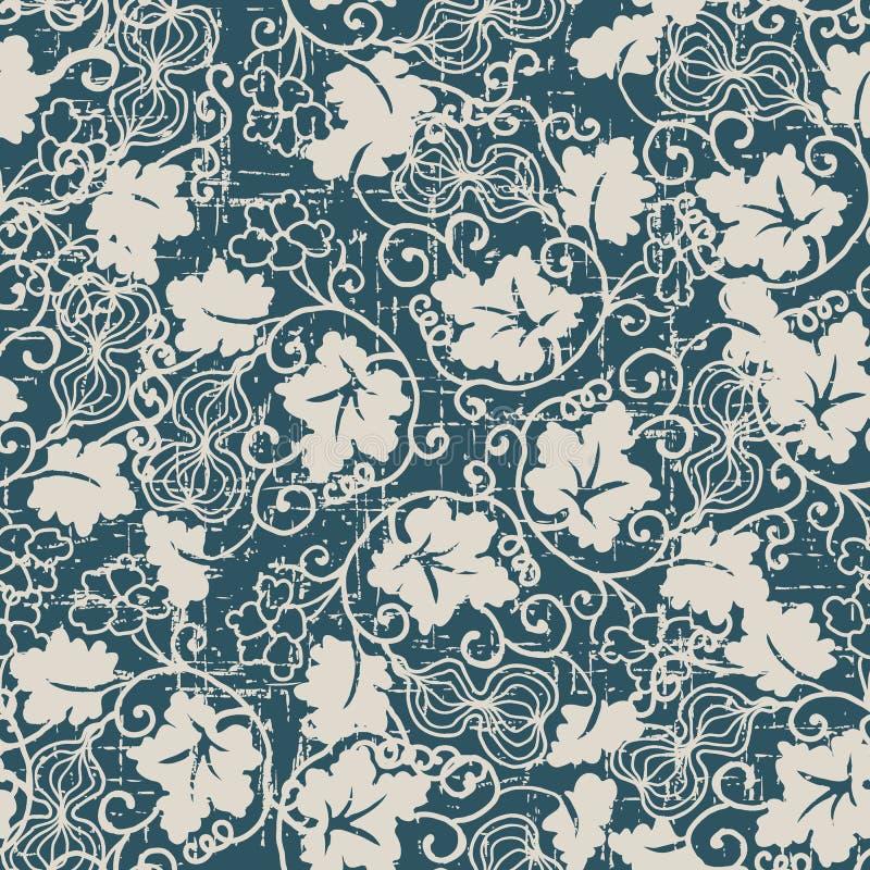 Sliten ut antik sömlös vinranka för blad för bakgrundskalebassspiral stock illustrationer