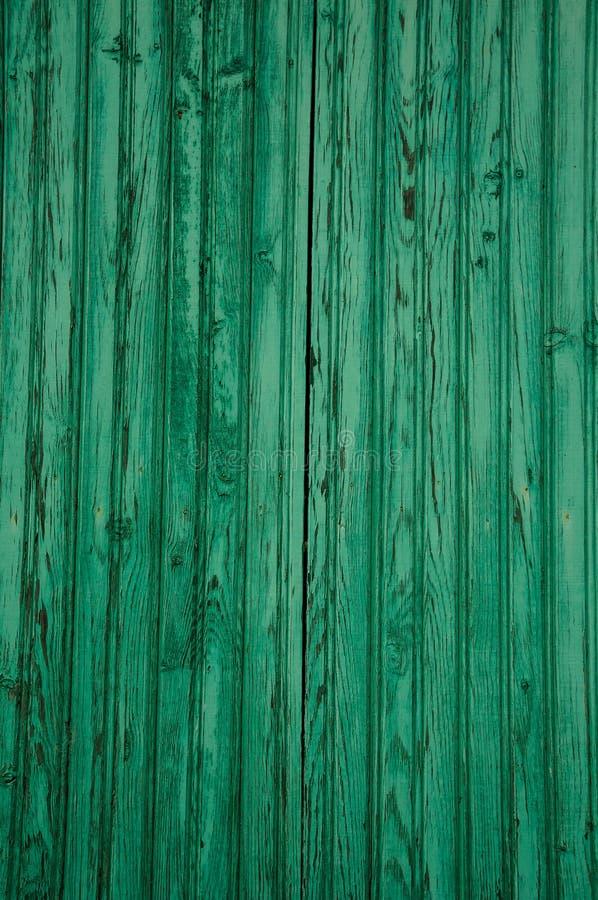 Slitna plankor av trä i en gammal grön dörr arkivfoto