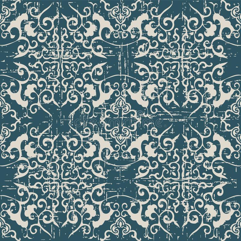 Slitna ut antika sömlösa kaleidos för spiral för bakgrundskorskurva royaltyfri illustrationer
