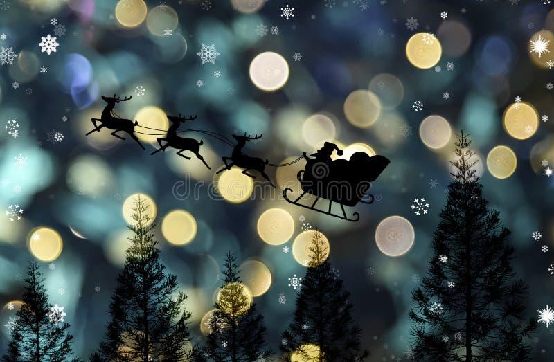 Volo Della Slitta Del Babbo Natale Con Il Fondo Di Notte Del Bokeh