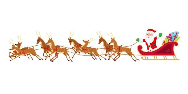 Slitta del `s della Santa - vettore (versione rossa) illustrazione di stock