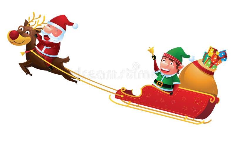 Slitta della renna di guida di Elf e di Santa illustrazione di stock