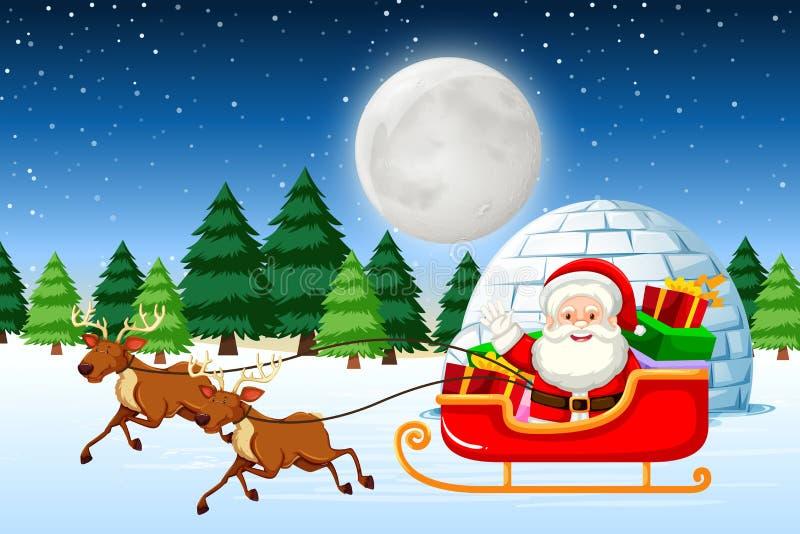 Slitta di guida di Santa alla notte illustrazione vettoriale