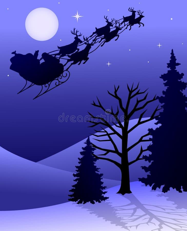 Slitta/ENV della renna della Santa illustrazione di stock