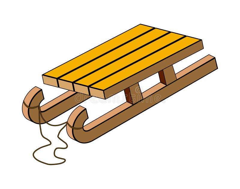 Slitta, progettazione di legno dell'icona di simbolo di vettore della slitta illustrazione di stock