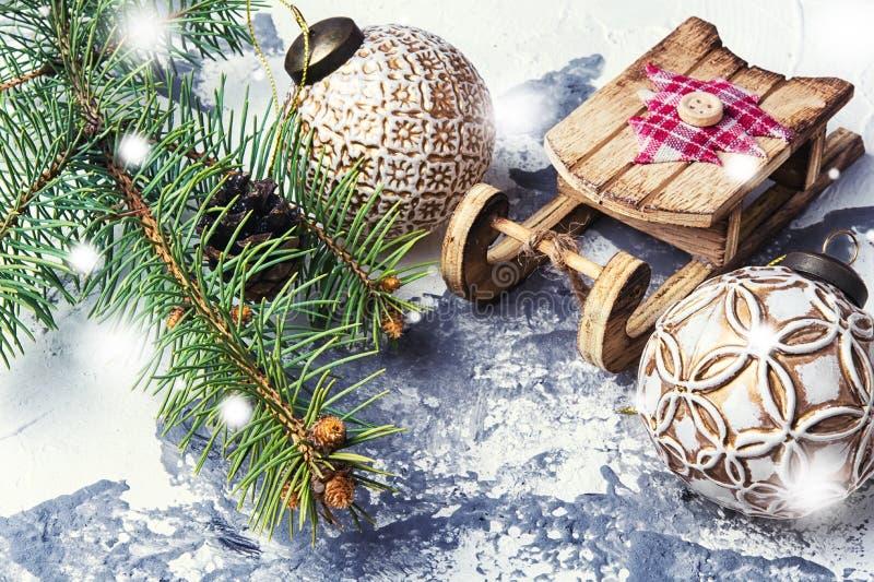 Slitta simbolica di Natale fotografia stock