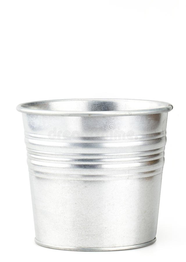 Sliver bucket isolated on white background with clipping path.  stock photography