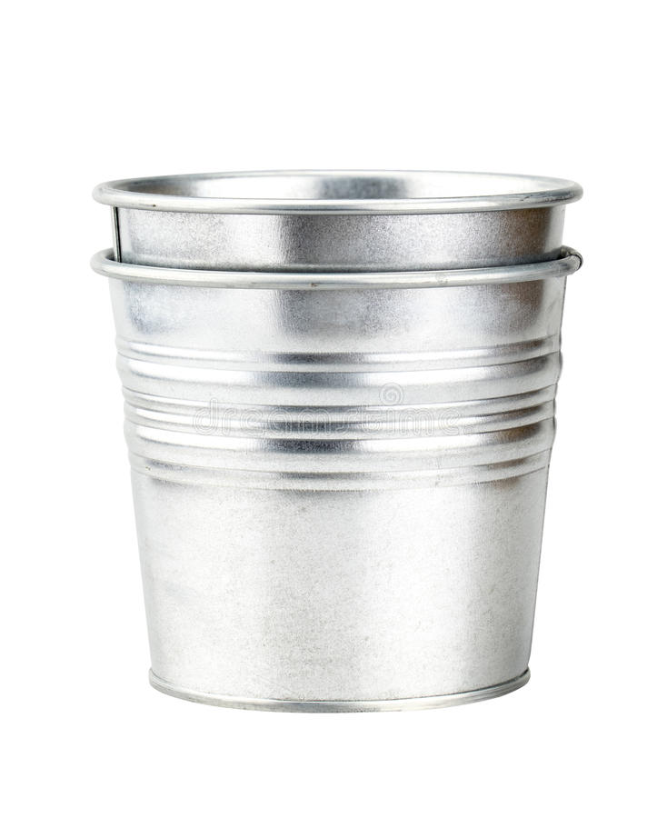 Sliver bucket isolated on white background with clipping path.  stock photo