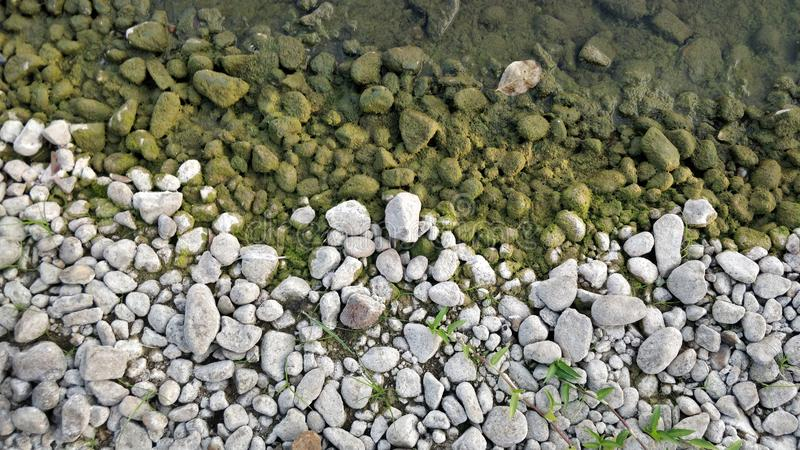 Sliver green rocks. A river pick royalty free stock image