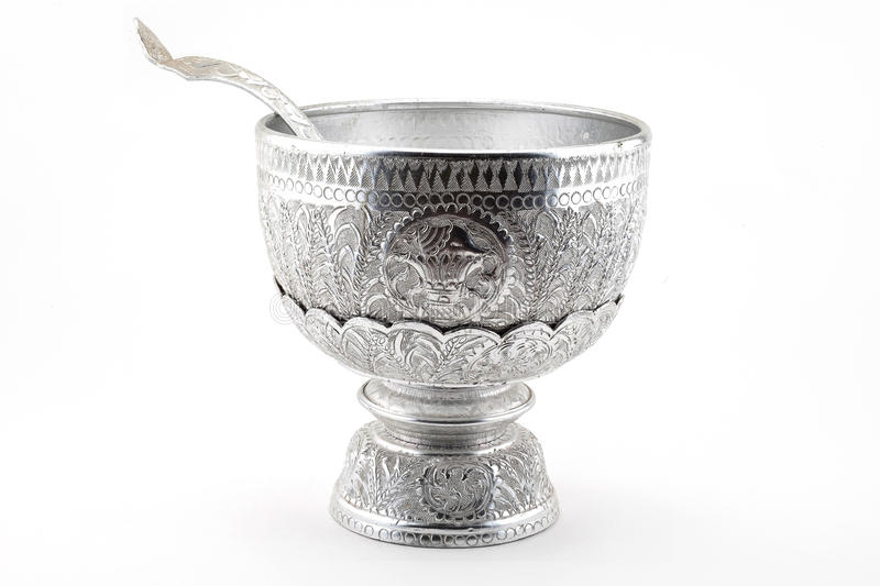 Sliver tray with pedestal. Of thailand royalty free stock images