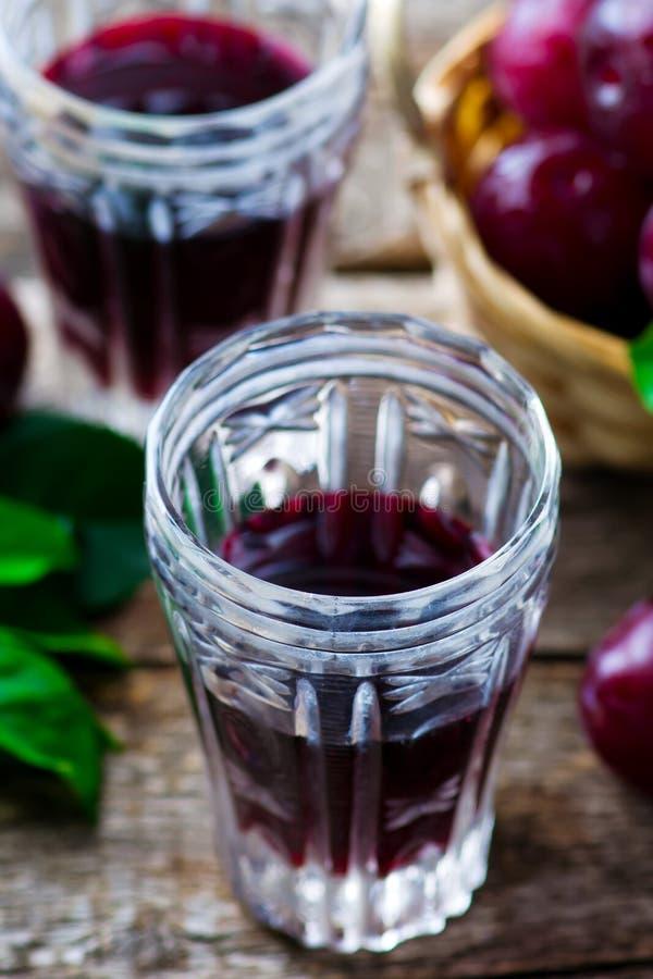 Slivovitz. alcoholic drink from plum. Style rustic. selective focus stock photo