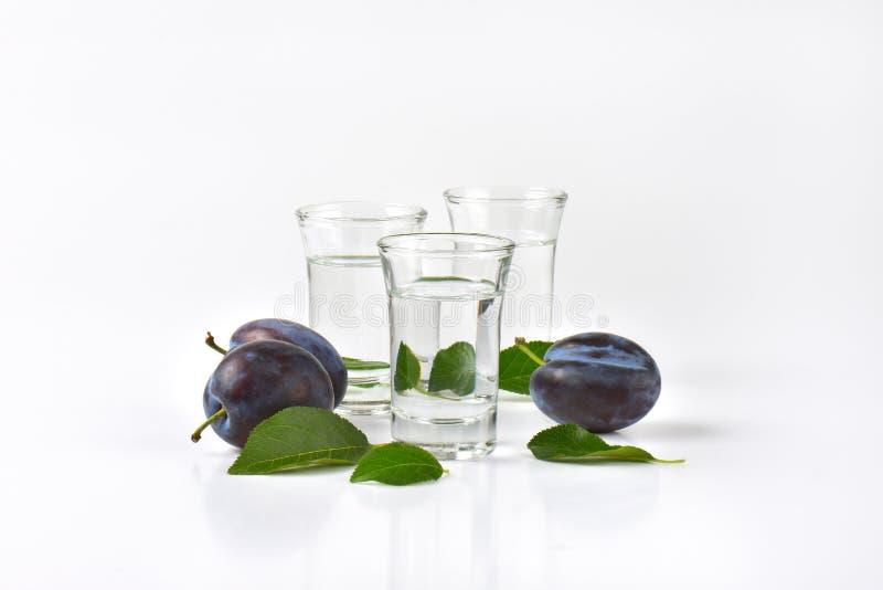 Slivovitz and plums. Close up of slivovitz (plum brandy) and fresh plums on white background stock photos