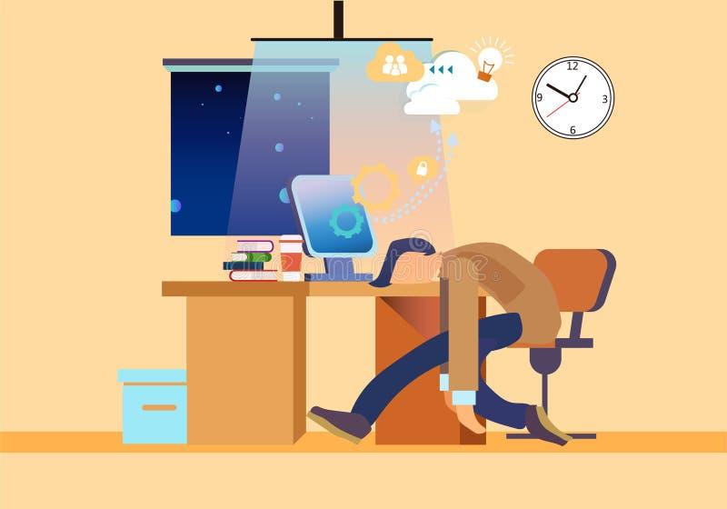 Slleepy pracownik na miejsce pracy mieszkania ilustracji ilustracji