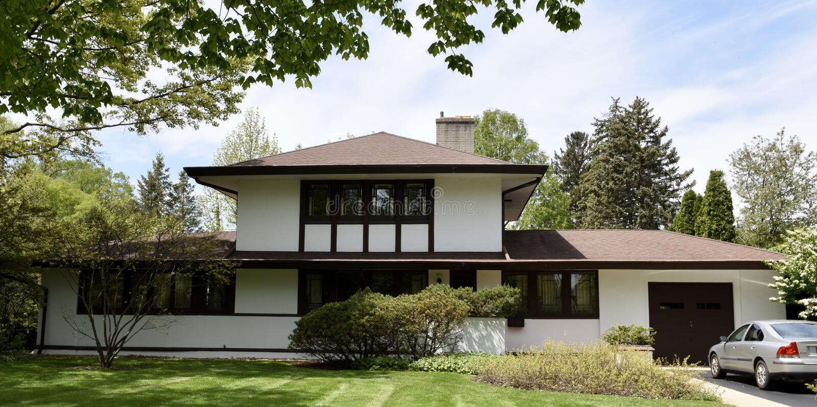 Sloane House. This is a Spring picture of the William B. Sloane House located in Elmhurst, Illinois in DuPage County. This house was designed by Walter Burley stock photos