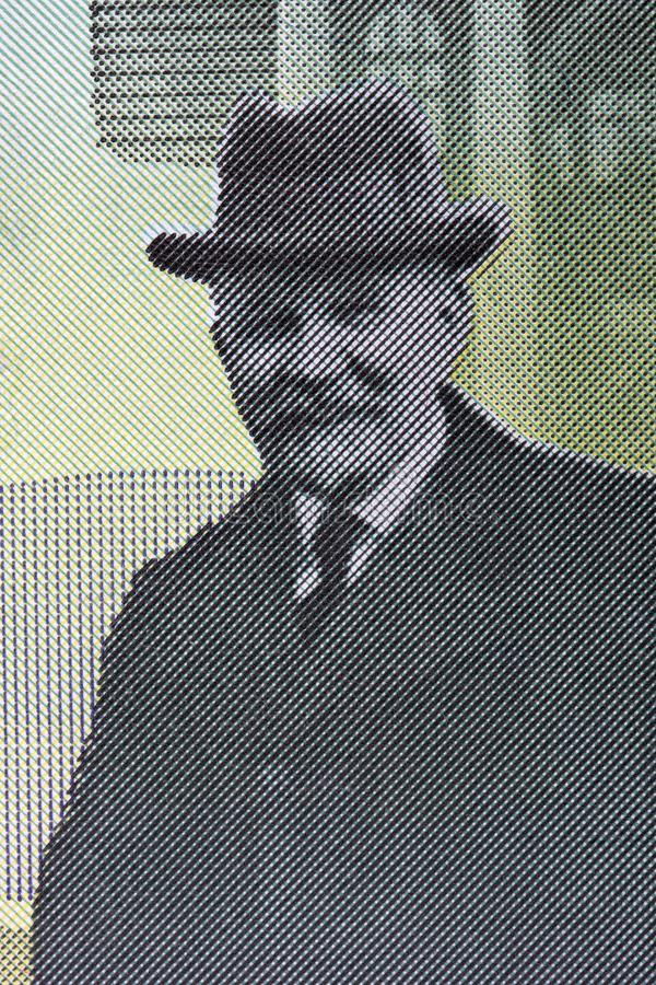 Slobodan Jovanovic en stående från serbiska pengar royaltyfria bilder