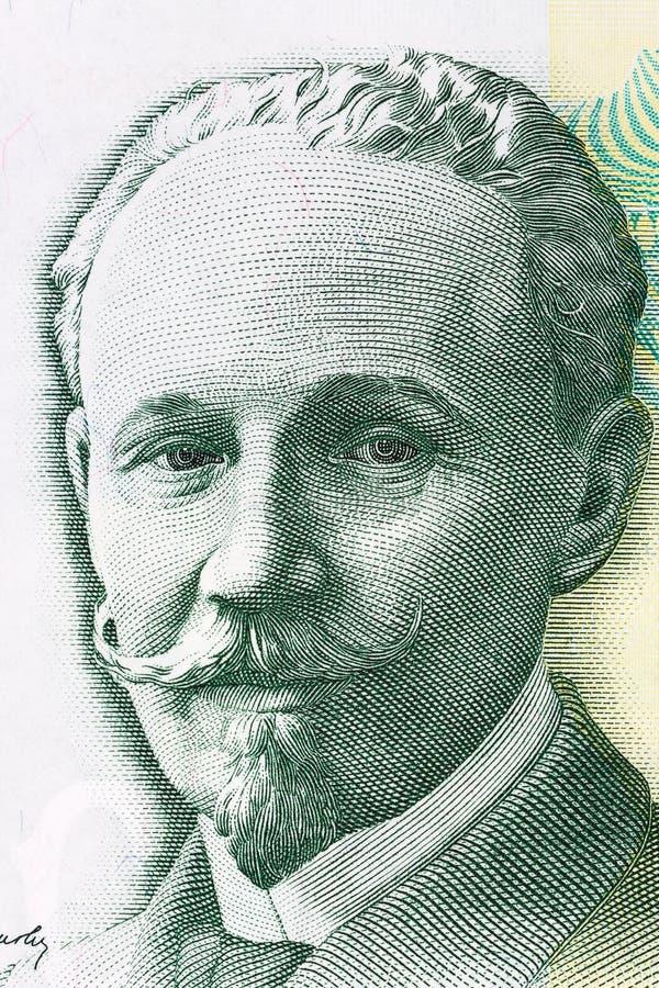 Slobodan Jovanovic stående från pengar för Serbien ` s royaltyfri foto
