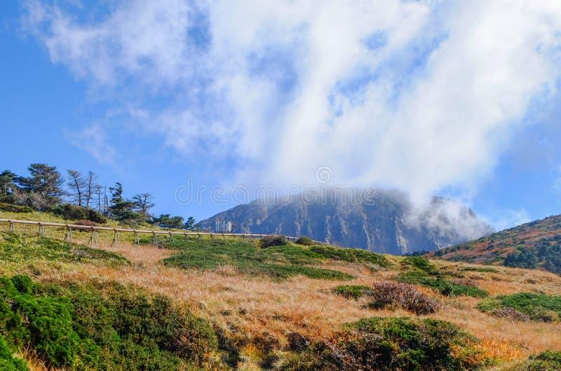 slocknad vulkan, Jeju Halla Mountain, Eorimok rutt royaltyfria bilder