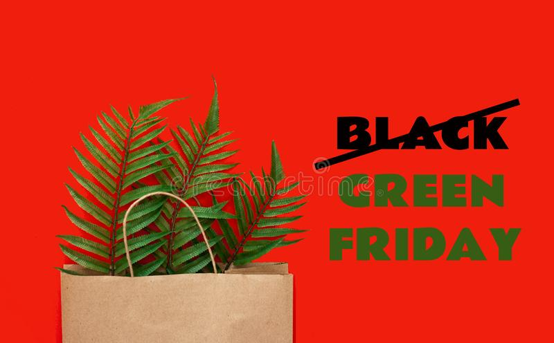 Slogan Black Green Friday. Concept of zero waste, ecology, overproduction and environmental issues stock photography