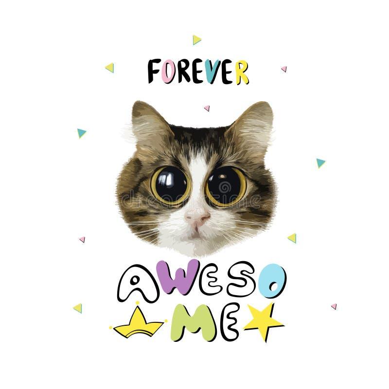 Slogan con il gatto illustrazione di stock