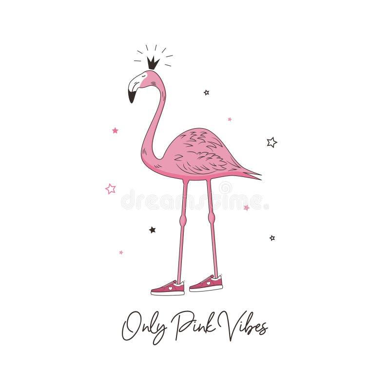 Slogan cor-de-rosa das vibrações para o projeto da camisa de t com a princesa do flamingo nas sapatilhas Tipografia do t-shirt co ilustração royalty free