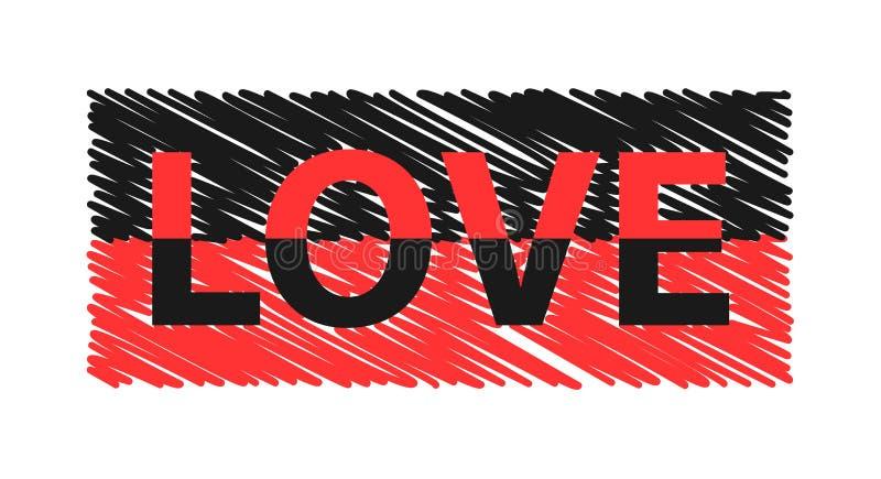 Slogan da cor do amor para os gráficos do t-shirt e do fato, o cartaz, a cópia, o cartão etc. ilustração stock